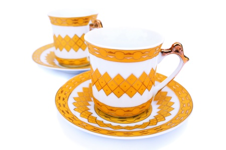 bar ware: Cups with dishes isolated on white background.