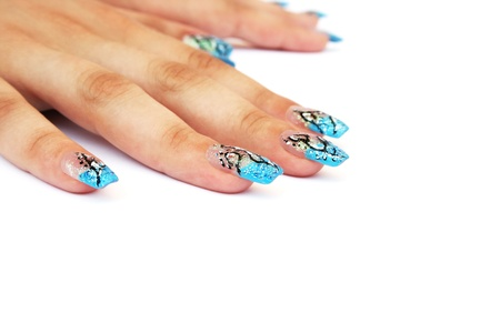 Hands with nail art isolated on white background. photo