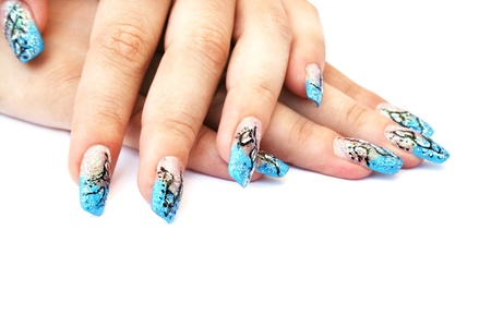 nail art: Hands with nail art isolated on white background.