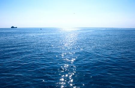 ocean view: Blue Mediterranean sea in morning. Stock Photo