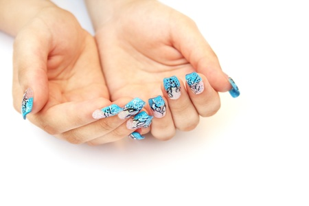 nailart: Hands with nail art isolated on white background.