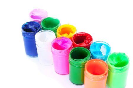 Colorful paints bottles isolated on white background. Stock Photo - 10942966