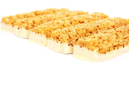 Nutritious  bars isolated on white background. photo