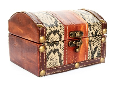 Treasure chest isolated on white background. photo