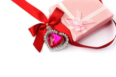 corazon: Red heart, ribbon, gift boxes isolated on white background.