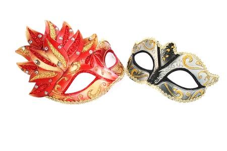 Carnival masks isolated on white background. photo