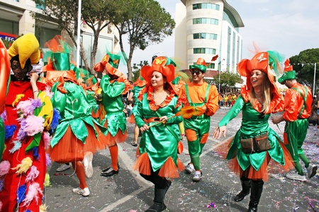LIMASSOL, CYPRUS - MARCH 6: Unidentified participants in Cyprus carnival parade on March 6, 2011 in Limassol, Cyprus. Cyprus carnival has been celebrating since 16th century, influenced by Venetian and Greek traditions.The festival is celebrated exclusive