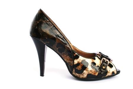 heel strap: Womanish stylish shoe isolated on white background. Stock Photo