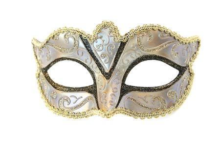 femme masqu�e: Masque de carnaval isol� sur fond blanc.