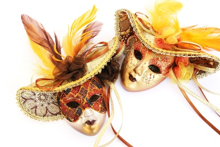 Carnival masks isolated on white background.