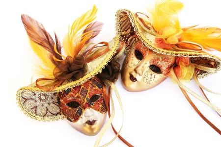Carnival masks isolated on white background.