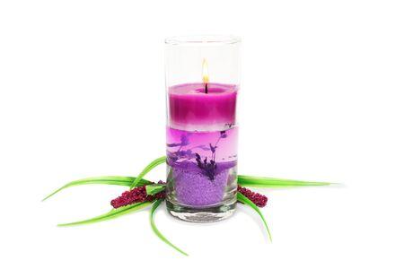 Pink burning candle and plant isolated on white background. photo