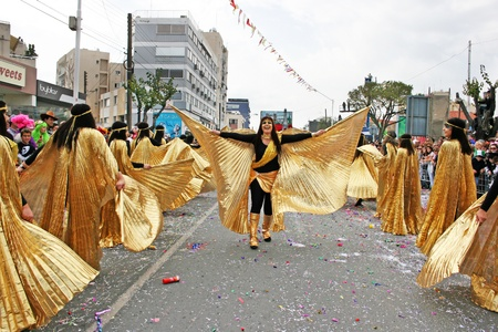 LIMASSOL, CYPRUS - MARCH 6: Unidentified participants in Egyptian costums in Cyprus carnival parade on March 6, 2011 in Limassol, Cyprus. Cyprus carnival has been celebrating since 16th century, influenced by Venetian and Greek traditions.The festival is