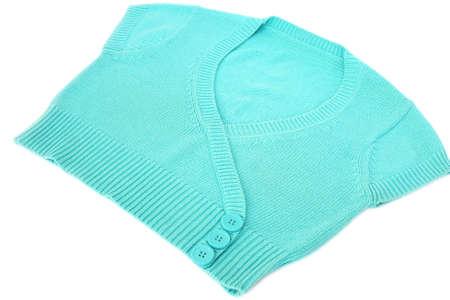 Blue sweater isolated on white background. photo