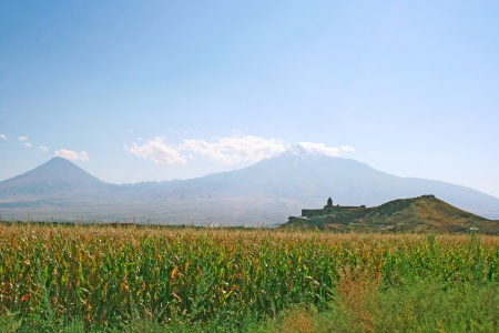 Ancient Khor Virap church and mountain Ararat, Armenia. photo