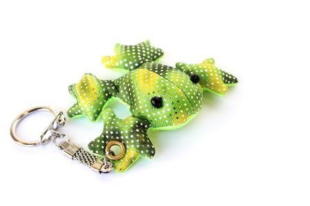 Green frog key holder isolated on white background. photo