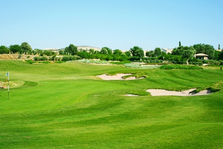 Golf field in Cyprus mountain village. Stock Photo