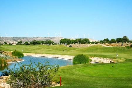 Golf field in Cyprus mountain village. photo