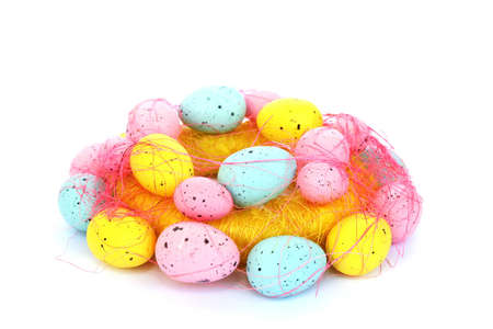 Easter colorful eggs net isolated on white background. photo