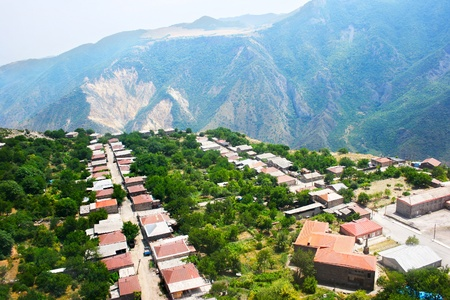 Mountain village Halidzor view fron altitude in Armenia. photo
