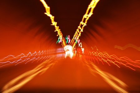 Colorful lights in the tunnel. Stock Photo - 13408090