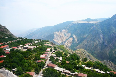 Mountain village Halidzor view fron altitude in Armenia  photo