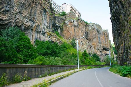 Road between rocks  in Jermuk, Armenia. photo