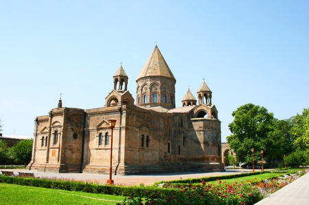 apostolic: Mother Cathedral of Holy Etchmiadzin, one of the oldest churches in the world, it was first built by Saint Gregory the Illuminator as a vaulted basilica in 301-303, when Armenia had just adopted Christianity as a state religion (the first such in world hi