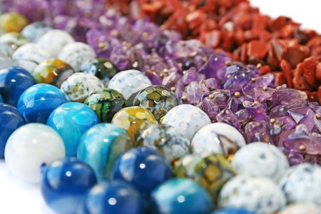 Colorful natural stones necklaces picture. photo