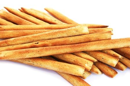 breadsticks: Palitos de pan aisladas sobre fondo blanco. Foto de archivo