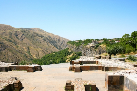 3rd century: View from Garni temple in  Armenia. Garni architectural complex established in 3rd century BC. The structures of Garni combine elements of Hellenistic and national culture. Stock Photo