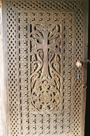 Entrance door  of  Khor Virap monastery in Armenia. photo