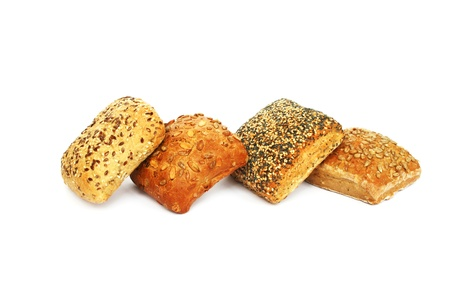 Breads with different seeds isolated on white background.