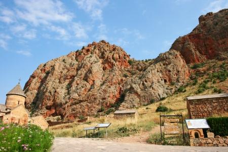 Noravank monastery in Armenia, red rocky mountains. photo