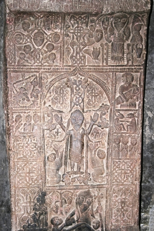 apostolic: Cross-stones or khachkars in the 9th century Armenian monastery of Sevanavank. Stock Photo