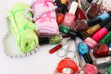 Manicure set on gray background. Stock Photo - 13655839
