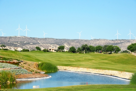 Golf field in Cyprus mountain village. photo