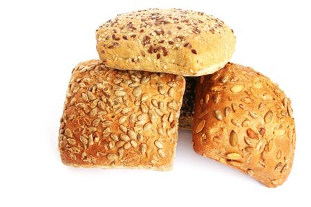 Breads with different seeds isolated on white background  photo