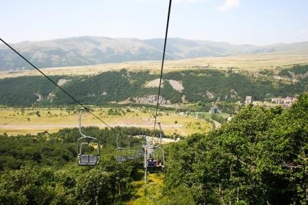 ropeway: Ropeway in mountain city Jermuk, Armenia  Stock Photo