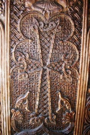 apostolic: Ancient door of the 9th century Armenian monastery Sevanavank.