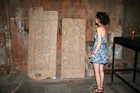 apostolic: Cross-stones in Noravank monastery in Armenia. Stock Photo