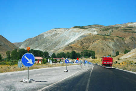 Mountain road  with truck and cars in Turkey  photo