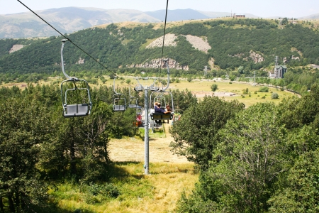Ropeway in mountain city Jermuk, Armenia. photo