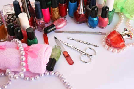 Manicure set on gray background. Stock Photo - 14113214