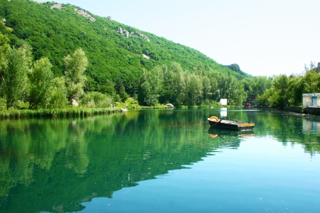 Lake in Armenian mountain city Jermuk. photo