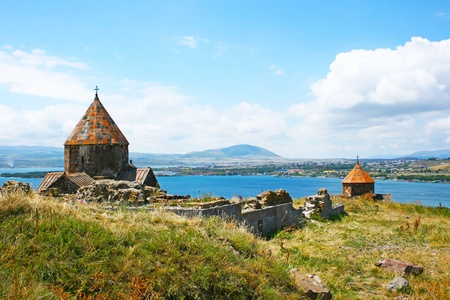 The 9th century Armenian monastery of Sevanavank at lake Sevan. Фото со стока