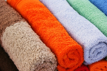 terry: Colorful towels as a background. Stock Photo