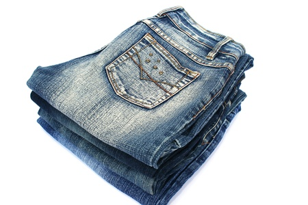 back pocket: Blue jeans isolated on white background.