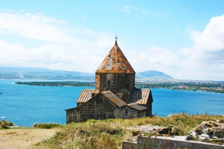 The 9th century Armenian monastery of Sevanavank at lake Sevan. photo