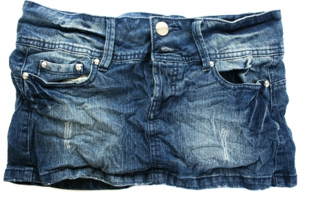 Blue jeans skirt isolated on white background  photo